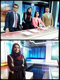 """ياسمين الرمال خلال مشاركتها في تقديم نشرة أخبار """"تحالف الاعلام العراقي"""""""