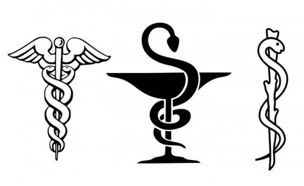 معنى شعار الصيدلية الحية الملفوفة على الكأس.