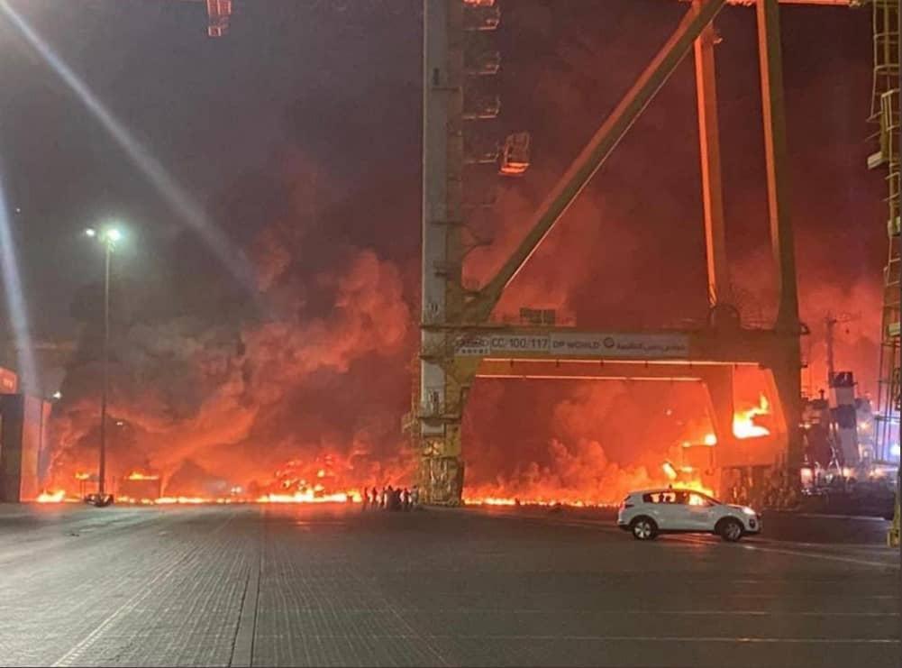 """انفجار في ميناء """"جبل علي"""" في دبي الإماراتية"""